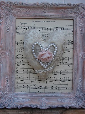 heart Shabby Chic pearl heart