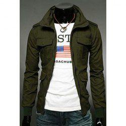$21.79 Stylish Slimming Stand Collar Multi-Pocket Long Sleeves Cotton Blend Jacket For Men