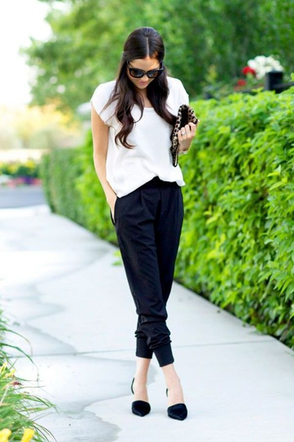 slouchy pants are terrible but I love the color combo with the clutch, shoes, and shirt!