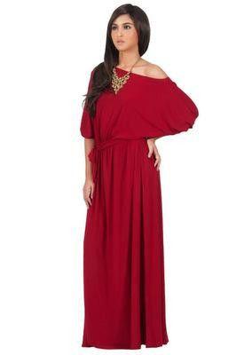 Maxi Dress Women Batwing Sleeve Long Dress Slash Neck Plus Size Maxi Dress