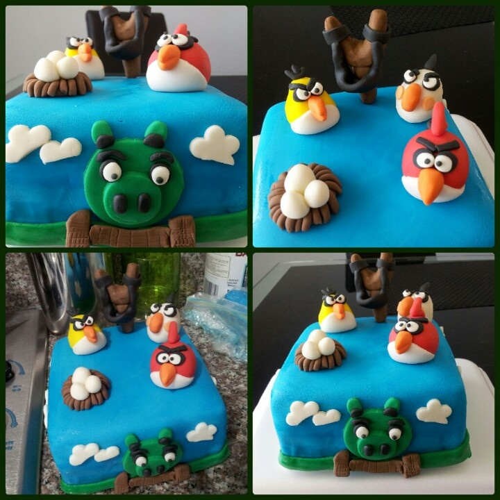 Torta decorada Angry Birds, vainilla con arequipe, cubierta con fondant.