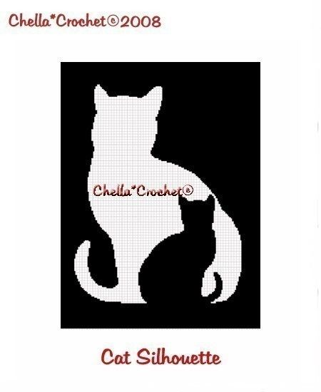 INSTANT DOWNLOAD Chella Haak Kat en Kitten Silhouet Afghaanse haakt Patroon Grafiek Grafiek .PDF