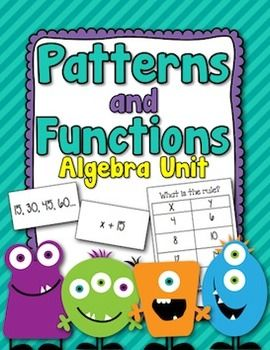Patterns and Functions Algebra Unit Packet | Little Lovely Leaders | {4-6}