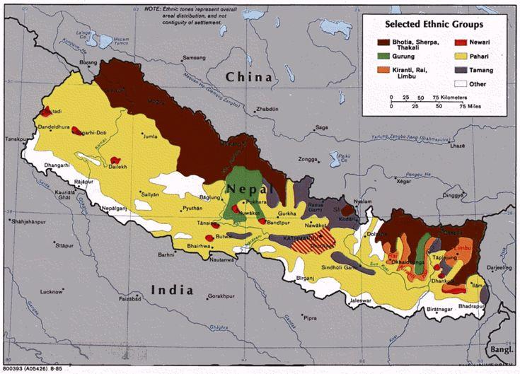Mapa dos grupos étnicos do Nepal. // Nepal ethnic groups ◆Nepal – Wikipédia http://pt.wikipedia.org/wiki/Nepal #Nepal