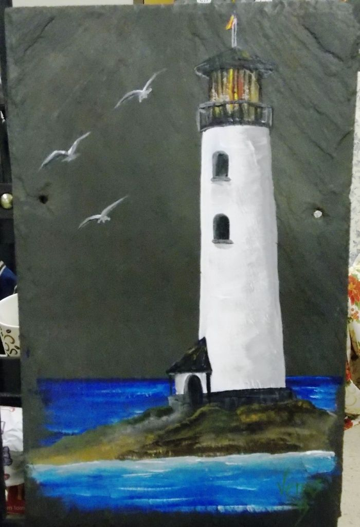 Lighthouse, seagulls, *roof tile - $35 Available on Etsy https://www.etsy.com/shop/ArtbyVenus  SOLD