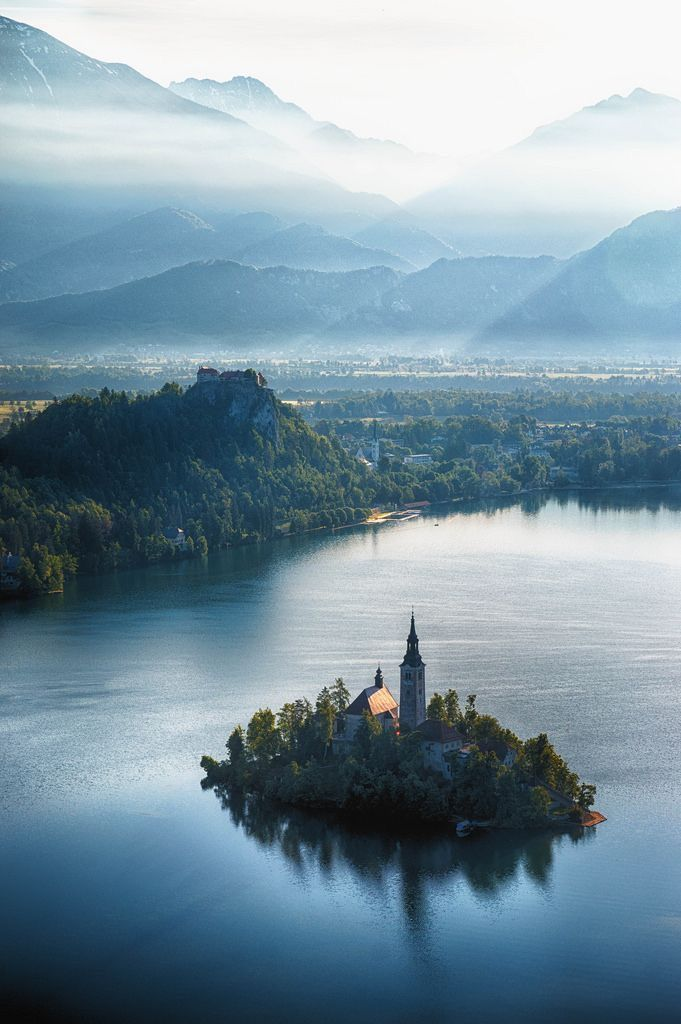 Lake Bled in Slovenia, with castle and church