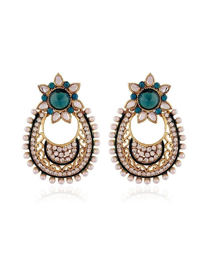 Party Wear Earrings. Item Code: JRUM537 http://www.bharatplaza.com/new-arrivals/jewellery.html