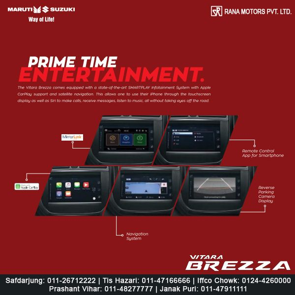 The Vitara Brezza comes equipped with a state-of-the-art SMARTPLAY infotainment system with Apple CarPlay support and satellite navigation. http://www.ranamotors.co.in/toolkit/maruti-suzuki-vitara-brezza-en-in.htm  Contact Numbers:- Safdarjung: 011-26712222 Prashant Vihar: 011-48277777 Iffco Chowk: 0124-4260000 Tis Hazari: 011-47166666 Janak Puri: 011-47911111  #MarutiSuzuki #VitaraBrezza #SmartPlay #Car #RanaMotors #NewDelhi #Gurgaon