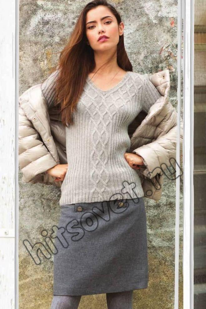 Вязание пуловера с v-образным вырезом схема - Хитсовет Вязание пуловера с v-образным вырезом схема. Модная модель женского пуловера с v-образным вырезом из кашемира с косами со схемами и бесплатным описанием вязания. Вам потребуется: 200 грамм светло-серой пряжи