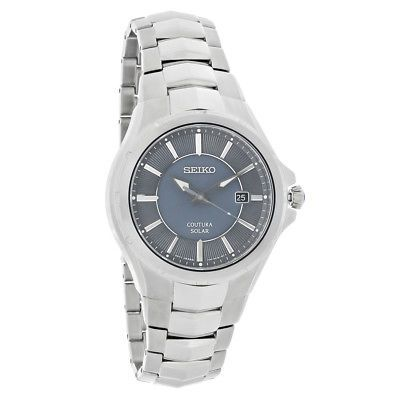 Seiko Coutura Solar Mens Charcoal Dial Stainless Steel Dress Watch SNE411