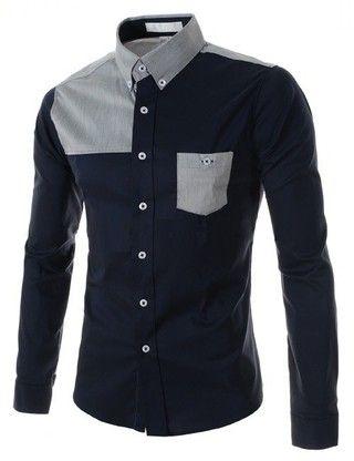 Camisa Casual Fashion - Detalles Grises - en Azul y Blanco — CamisasMasculinas.com - Lo Mejor de la Moda Masculina
