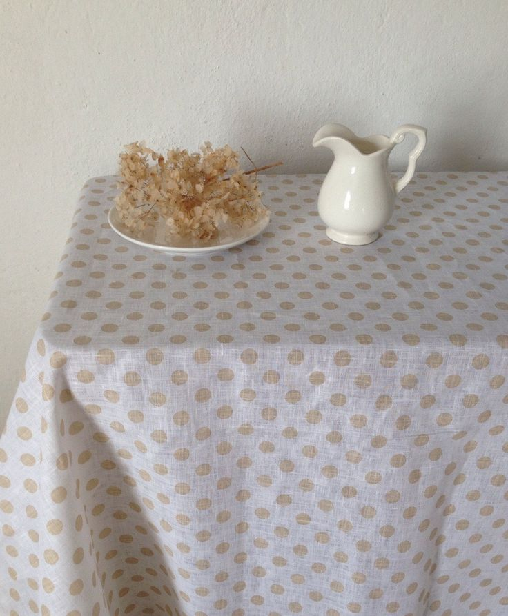 Linen Tablecloth With Polka Dots, Dotted Tablecloth By Linenbee By  Linenbeeshop On Etsy