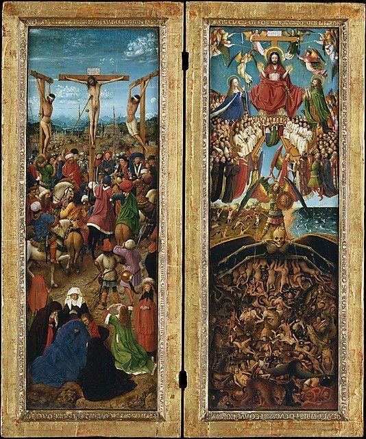 The Crucifixion; The Last Judgment, Jan van Eyck and Workshop Assistant (Netherlandish, Maaseik ca. 1390–1441 Bruges), date: ca. 1430.