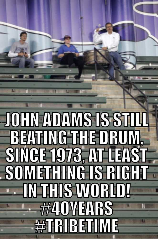 """40yrs of beating the drum at the Cleveland Indians home games. John Adams is an example of """"what's right in this world"""", #TribeTime #Indians"""