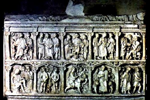 Sarcofago di Giunio Basso; IV secolo (359) d.C.; marmo; Necropoli Vaticana, Città del Vaticano; Museo del Tesoro della Basilica di San Pietro.