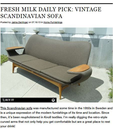 Check it out: @Design Milk featured Belize Upholstery from #KnollTextiles upholstered on a vintage Scandinavian sofa from 1st dibs in its Daily Pick feature. This indoor/outdoor upholstery fabric is mildew resistant, water repellant, and bleach cleanable.