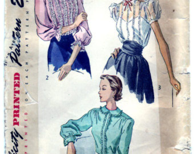 Vintage 1949 Simplicity 2721 Sewing Pattern Misses' Blouse Size 14 Bust 32