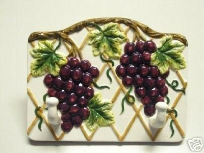 grape wall decorations juicy grapes 2 hook wall hanger ceramic kitchen decor 1