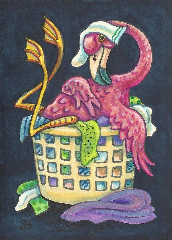Topsy Turvy Pink FLAMINGO Big Bird Art ACEO Clothes by susanbrack, $24.99