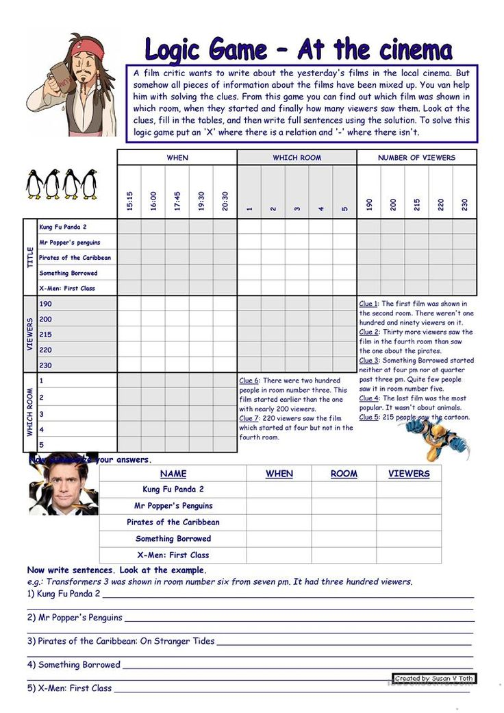 Logic game (23rd) - At the cinema *** with key *** for intermediate ss *** fully editable * reuploaded (MSWord2003) worksheet - Free ESL printable worksheets made by teachers