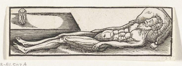 Anonymous | Het naakte lichaam van de overleden kardinaal-infant Ferdinand van Oostenrijk, 1641, Anonymous, 1641 | Het naakte lichaam van de kardinaal-infant Ferdinand van Oostenrijk, overleden op 9 november 1641. Het hoofd rust op een kussen, bij zijn voeten een zandloper. De afbeelding behoort bij een tekstblad met een lied.