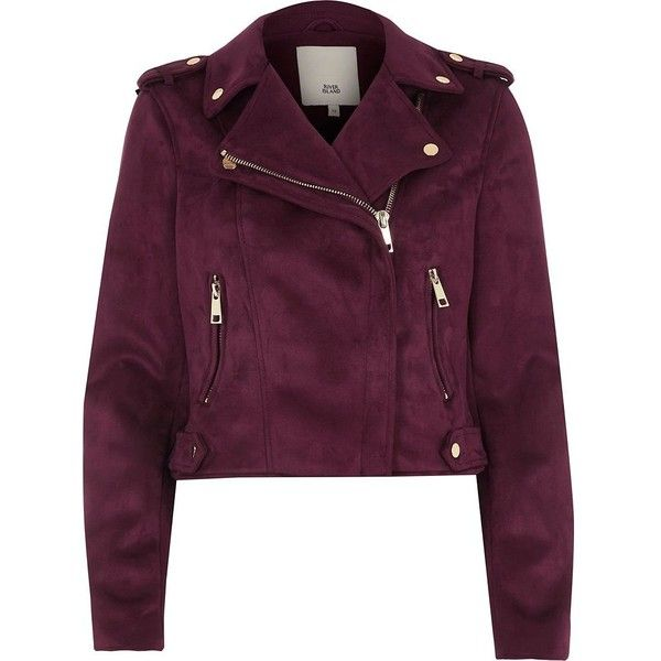 River Island Burgundy faux suede biker jacket ($120) ❤ liked on Polyvore featuring outerwear, jackets, overwear, river island, tops, coats / jackets, women, tall motorcycle jacket, burgundy biker jacket and burgundy jacket