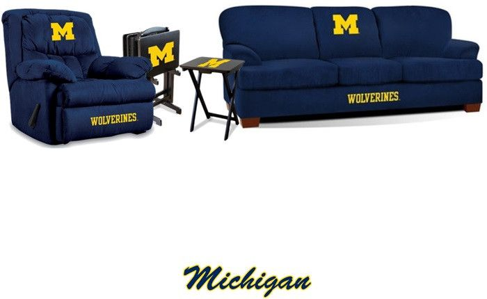 [[start tab]] Description We are proud to present the University of Michigan Wolverines Premier Fan Cave Set to the team. The Set includes the Michigan Wolverines Sofa and Rocker Wall-Away Recliner. P