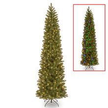 9 ft. Pre-lit Feel Real® Downswept Douglas Fir Pencil Artificial Christmas Tree, Dual Color® LED Lights