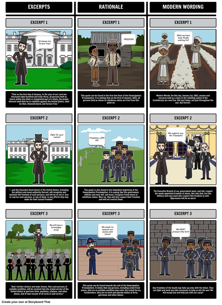 In this activity, students will analyze and synthesize excerpts from the Emancipation Proclamation using a triple T-Chart. View the full teacher guide here: https://www.pinterest.com/storyboardthat/the-emancipation-proclamation/