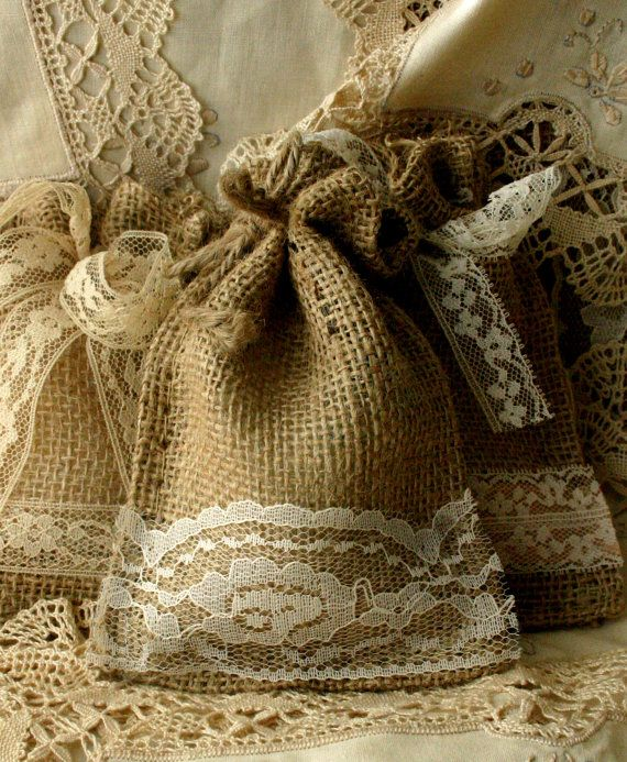 Burlap gift bags and favors for wedding and parties, eco friendly product via Etsy