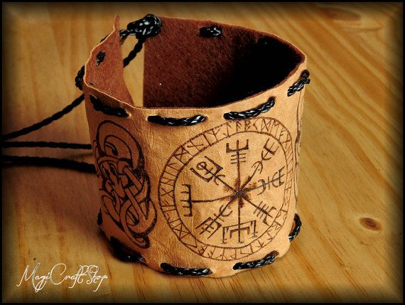 NORSE BRACELET for arm or wrist with vegvisir and by magicraftshop