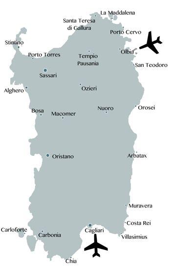 Flüge nach Sardinien: In Olbia und Cagliari sind die beiden großen Flughäfen der Insel: http://www.sardinien-inside.info/anreise-und-unterkunft/fluege-nach-sardinien/