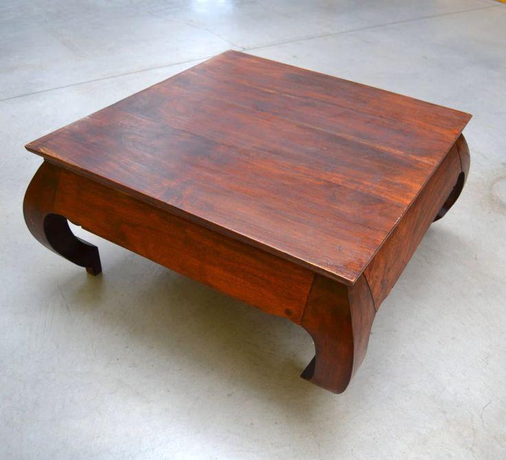 Tavolino basso da salotto quadrato in legno esotico lato 85 cm 1