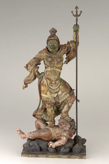 Japanese Art | Zocho-ten, Guardian of the South, one of a set of four Shitenno (Guardian Figures) | 1185-1333 | Kamakura period | Wood with polychrome and gilt, crystal-inlaid eyes | F1974.20