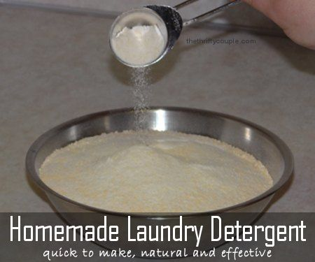 Make your own powder laundry detergent with scent like Tide but for only .04 a load and with more natural ingredients.  We've been using this homemade laundry detergent for 3+ years! It takes 10 minutes to make!