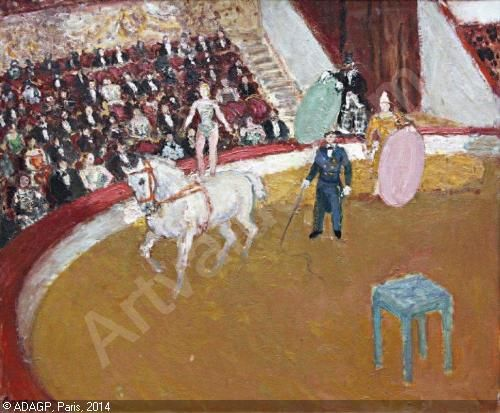 Au Cirque,  Jean Louis Marcel Cosson (1878-1956) | L'écuyère au cirque d'Hiver à Paris sold by Lombrail ...