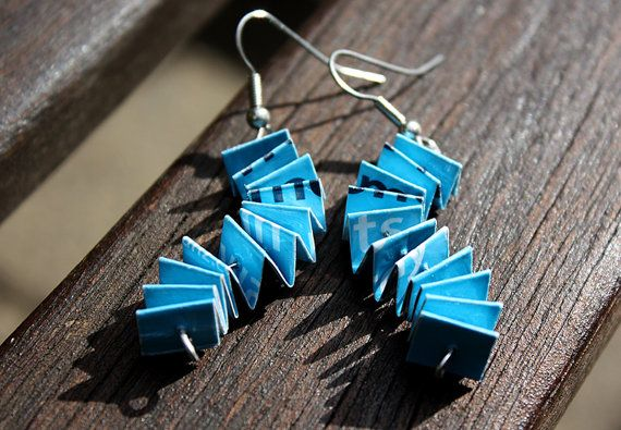 Unique Paper Earrings. Wavy Concertina Design. Light Blue, Navy and White. $20.00. Made by ThePaperer