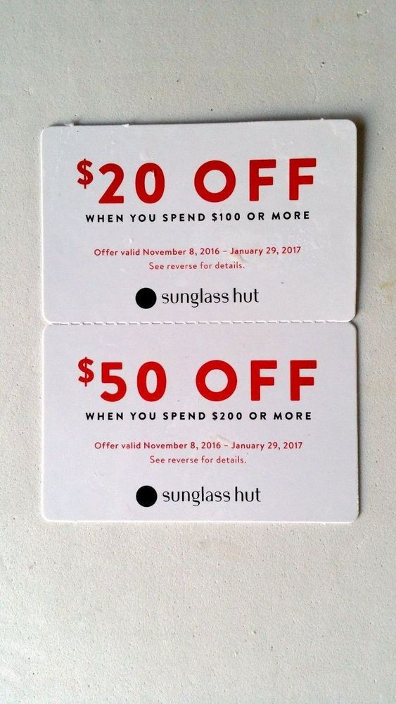 Sunglass Hut $20 Off $50, or $50 off $200 Coupon