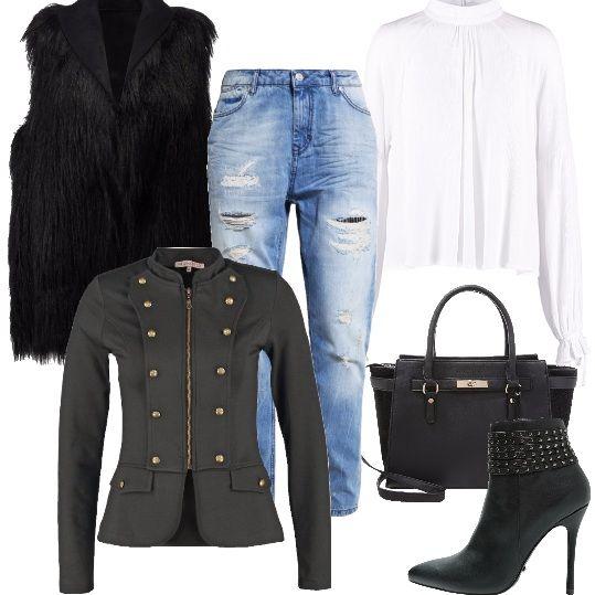 Un outfit estremamente fashion che ha il suo focus nella giacca stile militare, da accompagnare ad un jeans baggy delavè ed ad un gilet nero in ecopelliccia. Tronchetti neri con piccole borchie dal tacco vertiginoso e una borsa a mano di Dorothy Perkins, in questa mia proposta.