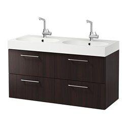 Cabinet, countertop, 19 5/8″ sink GODMORGON/TOLKEN / TÖRNVIKEN walnut effect, anthracite