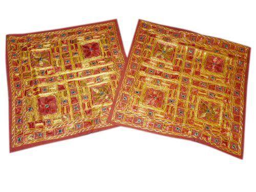India Throw Pillows, Boho Decor Cushion Covers Rust Sari Mirror Work Embroidery Pillow Shams, Set of 2 Pcs by Mogul Interior, http://www.amazon.com/dp/B00BYPEVVE/ref=cm_sw_r_pi_dp_jBqtrb001QEN8