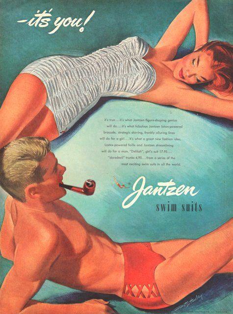 Annonce presse Jantzen nager costume en 1952 Deliah costume pour les femmes et les troncs de Daredevil peek-a-boo pour hommes sur Etsy, 6,06€