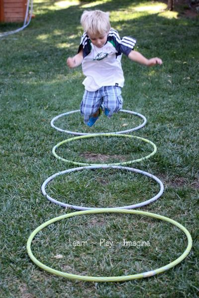 Gross motor games with hula hoops