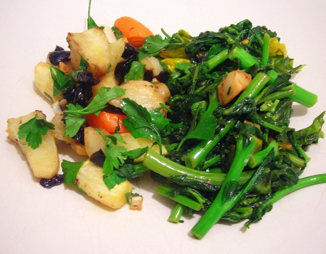 "... black olive ""persillade""; broccoli rabe with garlic, chiles and..."