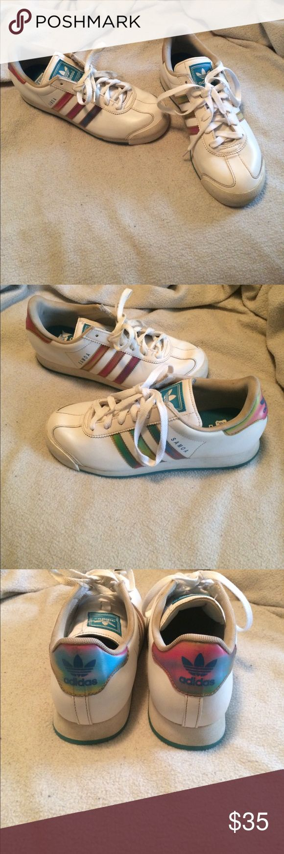 Adidas Soma Sneakers Size 5.5 Beautiful white colored adidas, with color changing stripes! These shoes are awesome! They are gently worn, could clean up nicely. Size 5.5 adidas Shoes Sneakers