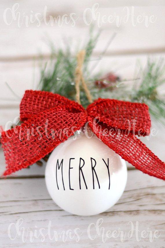 Rae Dunn Inspired Merry Christmas Tree Ornament Farmhouse