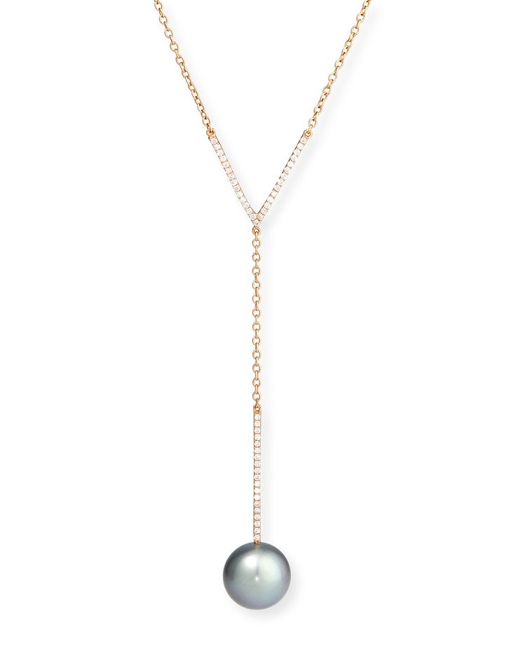 Tahitian Pearl & Diamond Y-Drop Pendant Necklace - Yoko London