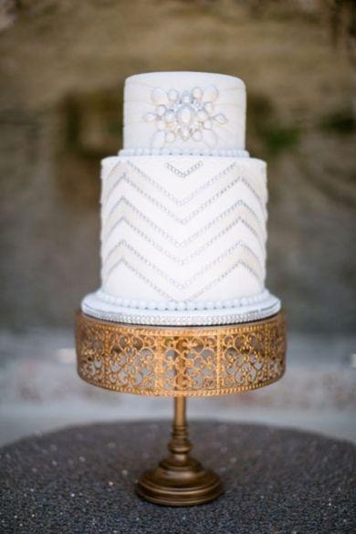 Wedding Cakes: Beautiful White Patterned Cake // Photo by: Jamilah Photography on Bridal Guide