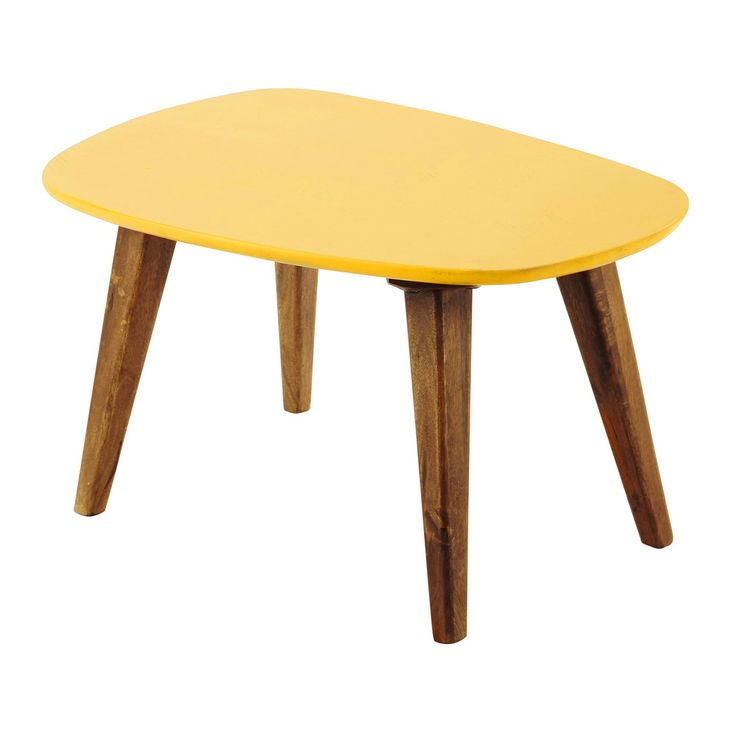 Wooden vintage coffee table in yellow W 75cm