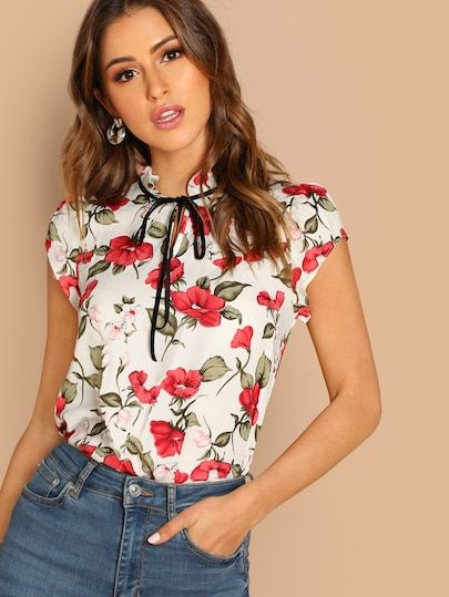 ef72db829f SHEIN Tie Neck Ruffle Armhole Floral Top #fashion #trends #styles #shein # sheinside #winter #clothes #fashionista shein,#sheinreviews,#sheinshopping, shein ...